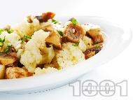 Салата от бланширани гъби печурки с карфиол